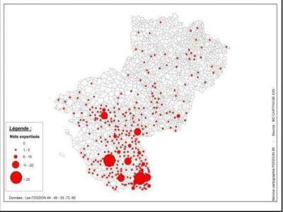 carte de la présence du frelon asiatique en Vendée et en Pays de la Loire